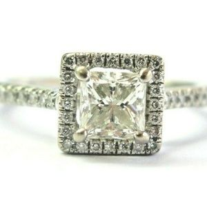Jewelry - Natural Princess & Round Cut White Gold Halo Engag